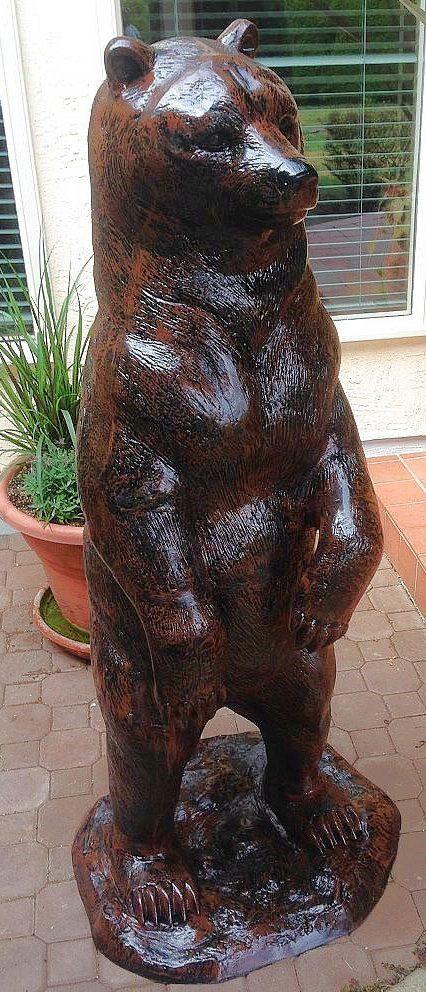 Medium Standing Grizzly Bear Metal Garden Statue