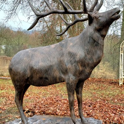 Bugling Elk Metal Statue