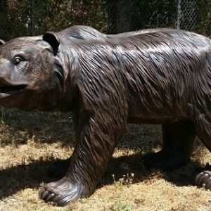 Walking Bronze Grizzly Bear Statue.