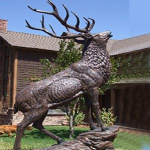 bronze life size elk sttaues for sale outside.