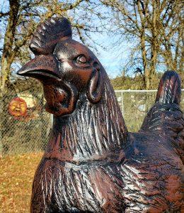 Large Metal hen Statue Head