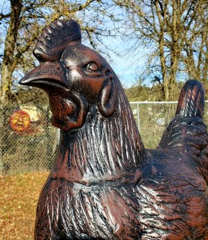 Large Metal hen Statue Head