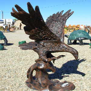 Eagle On Water Metal Garden Statue
