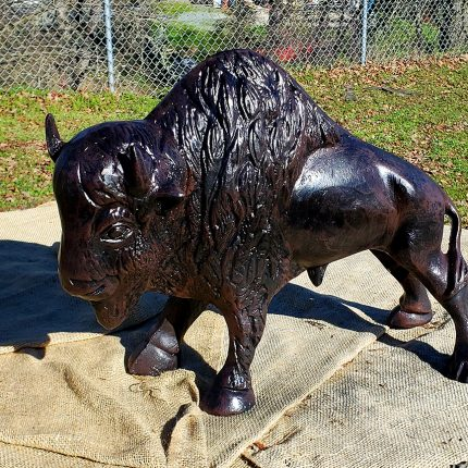 Buffalo statue 15 inch tall side