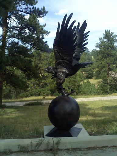 Eagle On Ball Metal Garden Statue Poor Man S Bronze
