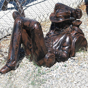 Sleeping Cowboy Coffee Table Base Metal Garden Statue