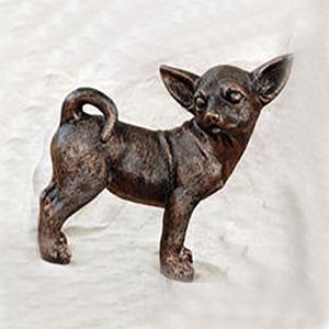 Merveilleux Standing Chihuahua Metal Graden Statue