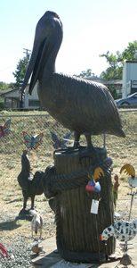XL Pelican Metal Garden Statue
