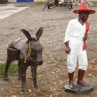 Metal Pedro And Donkey Garden Statue