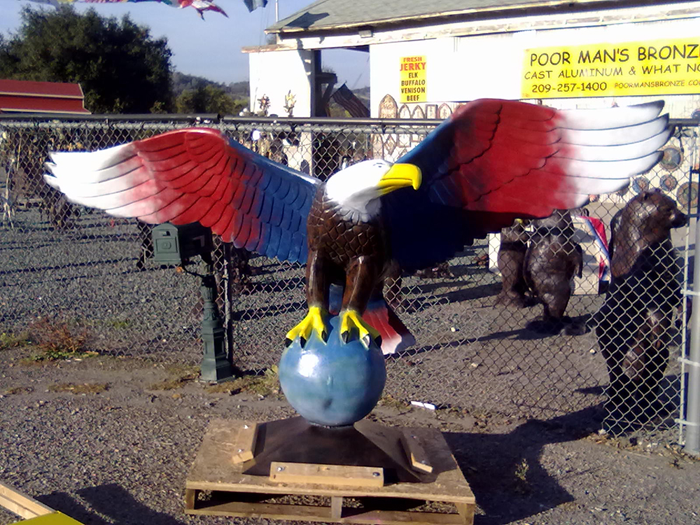 Painted Patriotic Bald Eagle Statue