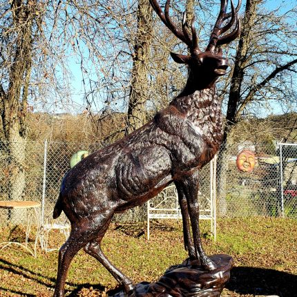 Elk Metal Statue Looking Right on Rock
