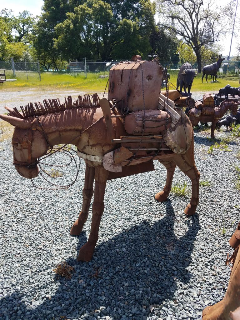 Sheet Metal Pack Mule Head Down Garden Statue Amp Yard