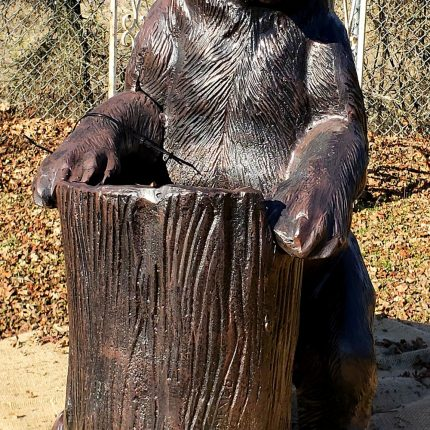 Bear Statue with Tree Stump Planter made with cast aluminum