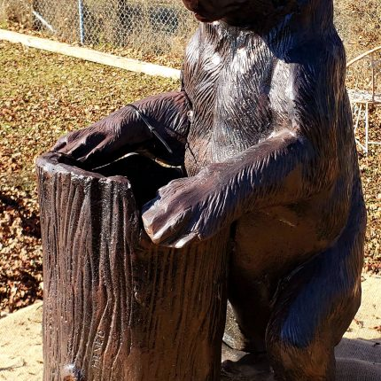 Bear Statue with Tree Stump Planter made from cast aluminum