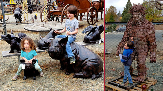 statues-kids-bigfoot-pigs
