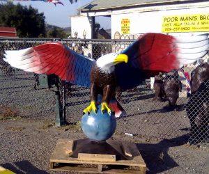 Painted Patriotic Bald Eagle Statue
